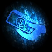 Blue Icon of Money in the Hand on Dark Digital Background.